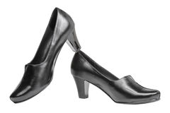 Female black shoes, isolated Royalty Free Stock Photos