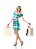 Female with blank bags Royalty Free Stock Image