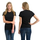 Female with blank black shirt and long hair Stock Photography