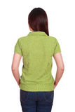 Female with blank green polo shirt (back side) Stock Photo