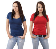 Female with blank red and blue shirts Stock Photo