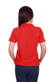 Female with blank red polo shirt (back side) Royalty Free Stock Photo
