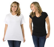 Female with blank shirts Royalty Free Stock Photos