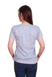 Female with blank t-shirt (back side) Royalty Free Stock Photography