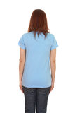 Female with blank t-shirt (back side) stock image