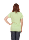 Female with blank t-shirt (back side) Stock Photo