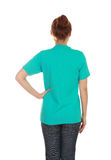 Female with blank t-shirt (back side) Stock Photos