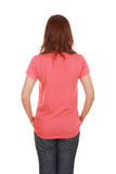 Female with blank t-shirt (back side) Stock Images