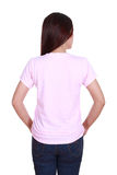 Female with blank t-shirt (back side) Royalty Free Stock Photos