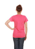 Female with blank t-shirt (back side) Royalty Free Stock Image