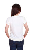 Female with blank t-shirt (back side) Royalty Free Stock Images
