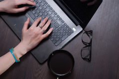 A female blogger. Royalty Free Stock Photo