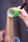 Female blond hair head curlers rollers hairdresser beauty salon Royalty Free Stock Image
