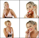 Female blonde beauty using cell phone. Young attractive female blonde beauty using cell phone Royalty Free Stock Photo