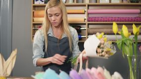 Female blonde florist arranging modern bouquet and finishing it with perfect riband. Handsome flower shop owner working. At her flower shop making bouquet stock footage