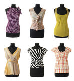 Female blouses collection #2 | Isolated. 6 female blouses on mannequin torso. Isolated on white background stock images