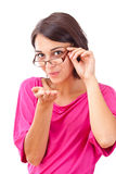 Female blowing a kiss Stock Images