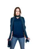 Female in blue pullover and a scarf Royalty Free Stock Photos