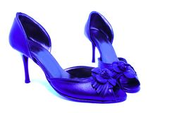 Female blue shoes Stock Images