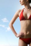 Female body. Image of luxurious woman in red bikini posing before camera at summer stock photos