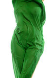 Female body. Covered by a green fabric Stock Images