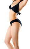 Female body on black swimsuit isolated Royalty Free Stock Photography