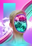 Modern design. Contemporary art collage. Female body of caucasian model with the head full of thoughts about colorful blooming flowers and spring. Trendy neon stock photo
