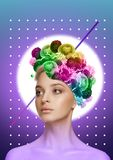 Modern design. Contemporary art collage. Female body of caucasian model with the head full of thoughts about colorful blooming flowers and spring. Trendy neon royalty free stock photo