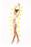 Female body with a cycle arrows. Fat lose, healthy eating and nutrition concept. Collage Royalty Free Stock Image