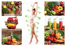 Female body with a cycle arrows. Fat lose, healthy eating and nutrition concept. Collage Stock Photography