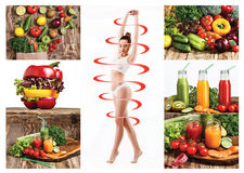 Female body with a cycle arrows. Fat lose, healthy eating and nutrition concept. Collage Royalty Free Stock Photo
