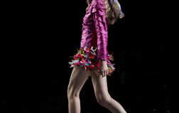 Female body dressed with a skirt full of feathers Royalty Free Stock Image