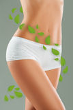 Female body with green herbal leaves around Royalty Free Stock Photo