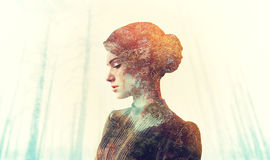 Female body with grunge texture, double exposition Royalty Free Stock Photo