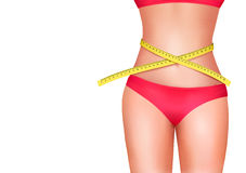 Female body with measuring tape. Diet concept. Stock Image