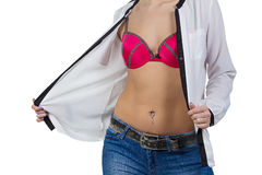 Female body with shackle in the navel Royalty Free Stock Photography