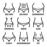 Female body shape - fit, big hips, obese, overweight, slim, anorexia, six-pack, obese, fat, curvy Royalty Free Stock Photos