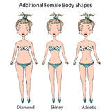 Female Body Shape Types. Diamond, Skinny, Athletic Girl. Realistic Hand Drawn Doodle Style Sketch. Vector Illustration. Female Body Shape Types. Diamond, Skinny Stock Images