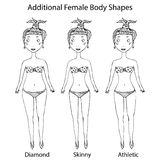 Female Body Shape Types. Diamond, Skinny, Athletic Girl. Realistic Hand Drawn Doodle Style Sketch. Vector Illustration. Female Body Shape Types. Diamond, Skinny Stock Photography