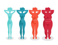 Female body shapes - four types. Fast-food and body. Women with different body mass Stock Image