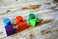 Abstract body types from colorful wooden blocks royalty free stock photography