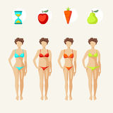Female body shapes. Web collection. Female body shapes - four types Stock Photography