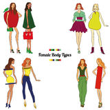 Female Body Types and Body Shapes. Vector illustration Royalty Free Stock Images