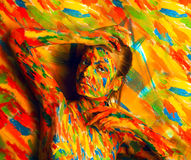 Female in bodyart paint near multicolored wall Royalty Free Stock Image