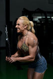 Female Bodybuilder Doing Heavy Weight Exercise For Triceps Stock Photos
