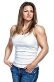 A female bodybuilder in everyday life. Royalty Free Stock Images