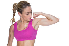 Female bodybuilder flexing bicep in pink sports bra Royalty Free Stock Photo