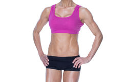 Female bodybuilder posing in pink sports bra and shorts mid section Royalty Free Stock Photo
