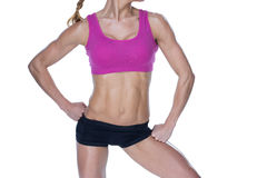 Female bodybuilder posing in pink sports bra and shorts mid section Royalty Free Stock Photos