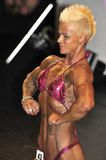 Female bodybuilding contestant showing her chest pose. ROOSENDAAL, THE NETHERLANDS - OCTOBER 19, 2014. Walters Open Dutch Championship 2014 - category Stock Photography